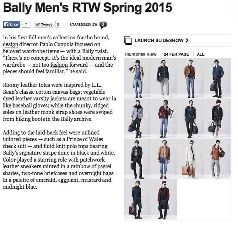 WWD: BALLY MEN'S RTW SPRING 2015